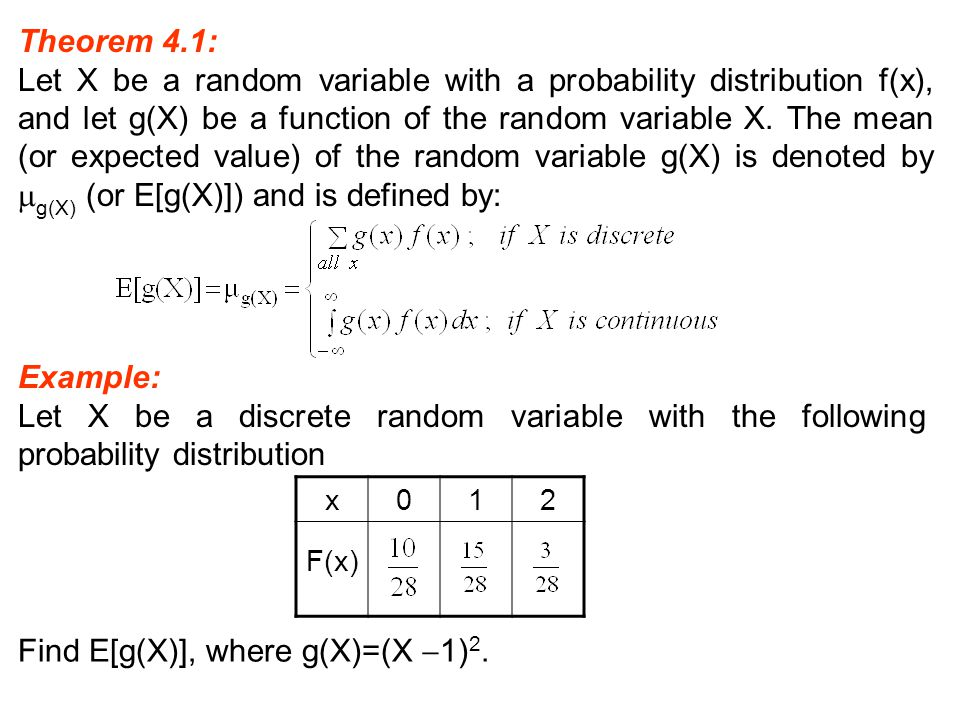 Find E[g(X)], where g(X)=(X 1)2.